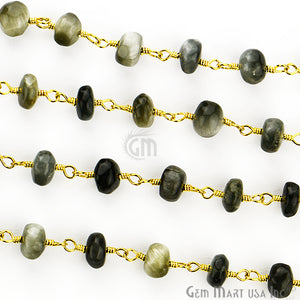 Cats Eyes 6-7mm Gold Plated Wire Wrapped Rosary Chain - GemMartUSA