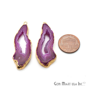 Agate Slice 16x47mm Organic Gold Electroplated Gemstone Earring Connector 1 Pair - GemMartUSA