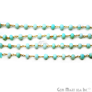 Blue Opal Rondelle Beads Gold Plated Wire Wrapped Rosary Chain - GemMartUSA