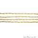 Yellow Chalcedony Gold Plated Wire Wrapped Gemstone Beads Rosary Chain - GemMartUSA