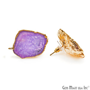 DIY Agate Slice Geode Druzy 23x32mm Gold Electroplated Loop Connector Studs Earrings - GemMartUSA