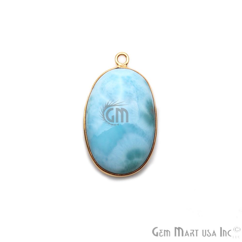 Larimar Cabochon Gemstone 23x17mm Gold Plated Connector