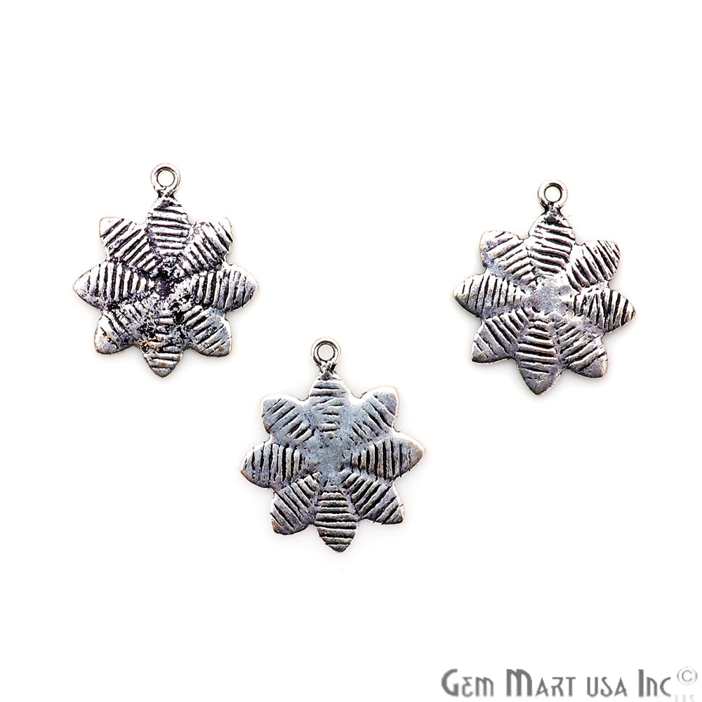 Flower Shape Oxidized 22x18mm Charm For Bracelets & Pendants