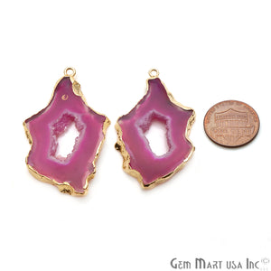 Agate Slice 46x22mm Organic Gold Electroplated Gemstone Earring Connector 1 Pair - GemMartUSA
