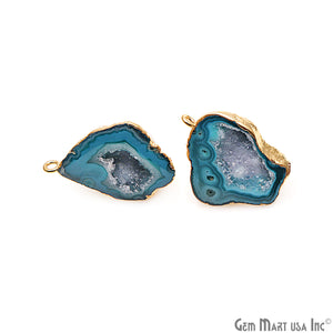 DIY Agate Slice Geode Druzy 28x21mm Gold Electroplated Loop Connector Studs Earrings - GemMartUSA