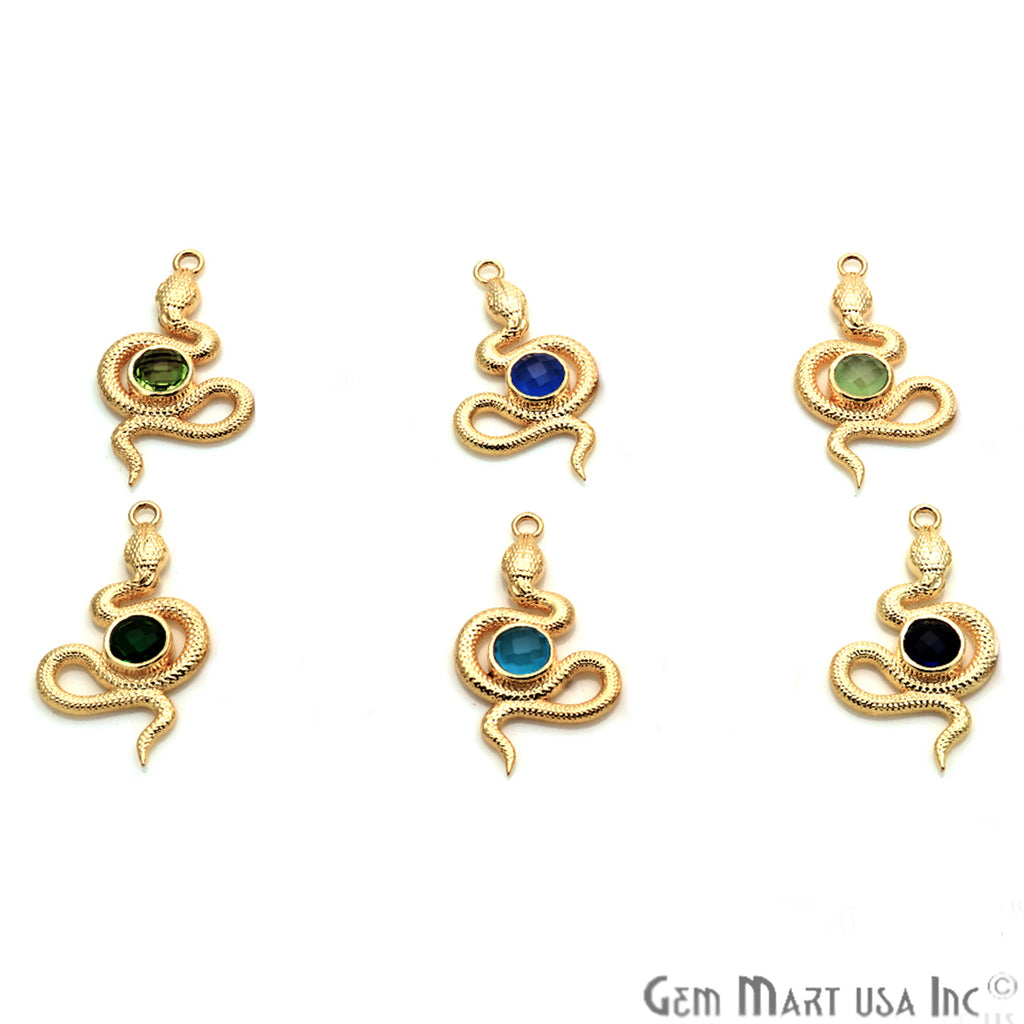 DIY Gemstone Gold Plated Snake Chandelier Finding Connector - 1pc (Pick Your Gemstone)