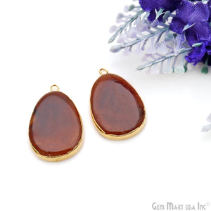 Agate Slice 28x18mmOrganicGold Electroplated Gemstone Earring Connector 1 Pair
