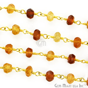 Hessonite 6-7mm Gold Plated Wire Wrapped Rosary Chain - GemMartUSA