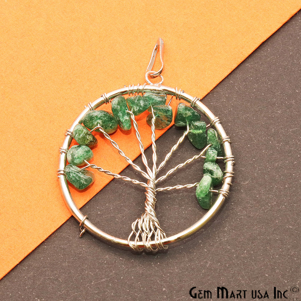 Tree of Life Aventurine Silver Wire Wrapped 45x40mm Chakra Pendant