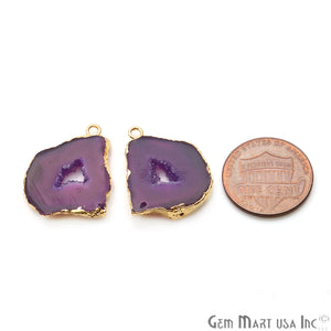 Agate Slice 19x24mm Organic Gold Electroplated Gemstone Earring Connector 1 Pair - GemMartUSA