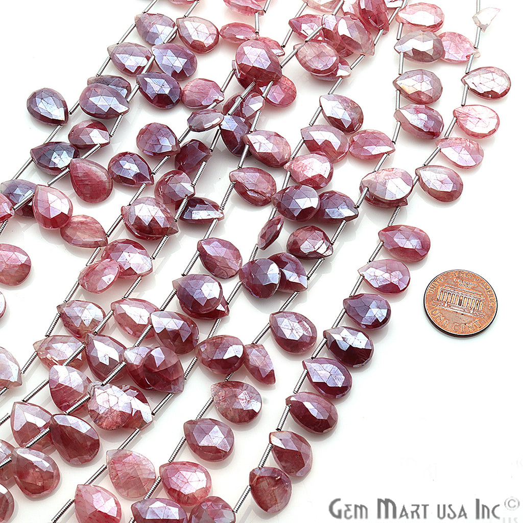 Natural Pink Moonstone Gemstone 14x10mm Beaded Handmade Silver Wire Rondelle