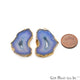 Agate Slice 25x38mm Organic Gold Electroplated Gemstone Earring Connector 1 Pair - GemMartUSA