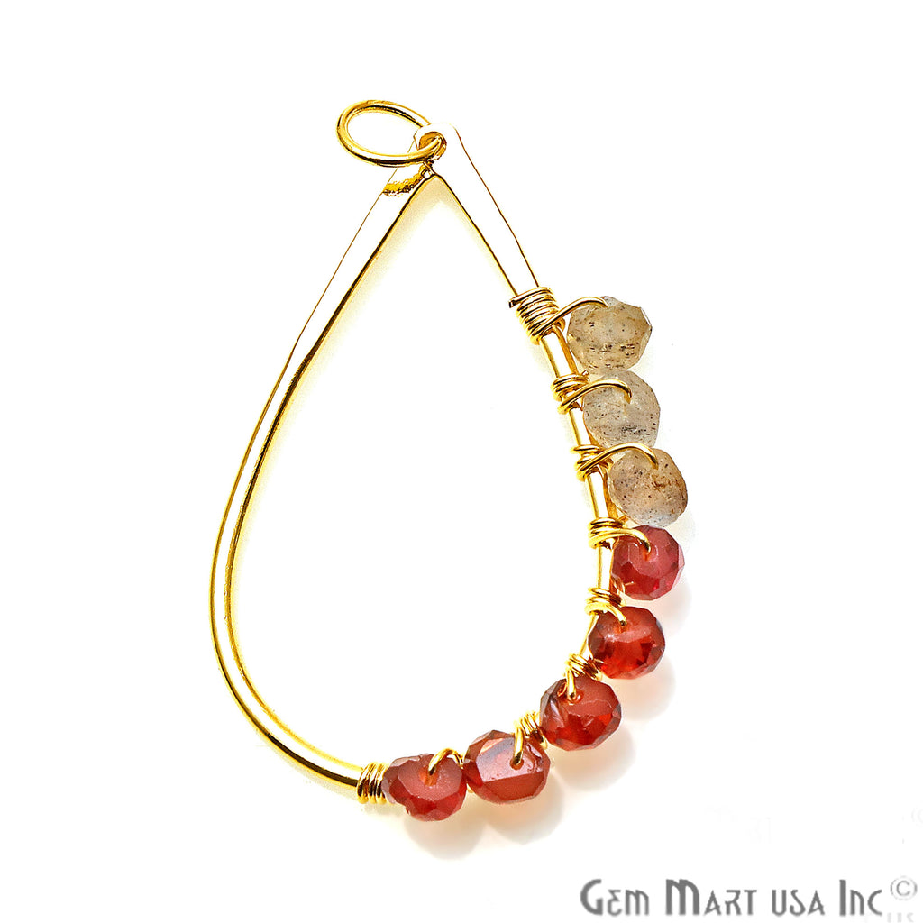 Garnet and Labradorite Pear Shape Gold Plated Wire Wrapped Connector