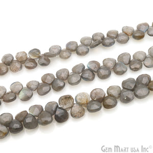 "Labradorite 6-7mm Heart Blue Flash Faceted Beads Strands 8.50"" Inch"