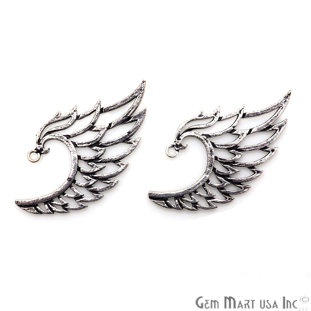 Eagle Wing Oxidized 48x25mm Charm For Bracelets & Pendants