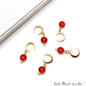 DIY Gemstone Round & Moon Shape Finding 30x12mm Gold Plated Pendant Connector 1pc (Pick Stone) - GemMartUSA