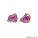 DIY Agate Slice Geode Druzy 27x17mm Gold Electroplated Loop Connector Studs Earrings - GemMartUSA