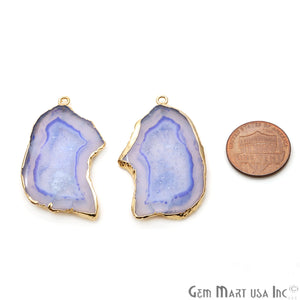 Agate Slice 41x25mm Organic Gold Electroplated Gemstone Earring Connector 1 Pair - GemMartUSA
