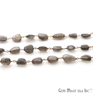 Labradorite Free Form Beads 10x6mm Gold Plated Wire Wrapped Rosary Chain - GemMartUSA