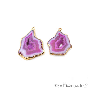 Agate Slice 36x27mm Organic Gold Electroplated Gemstone Earring Connector 1 Pair - GemMartUSA