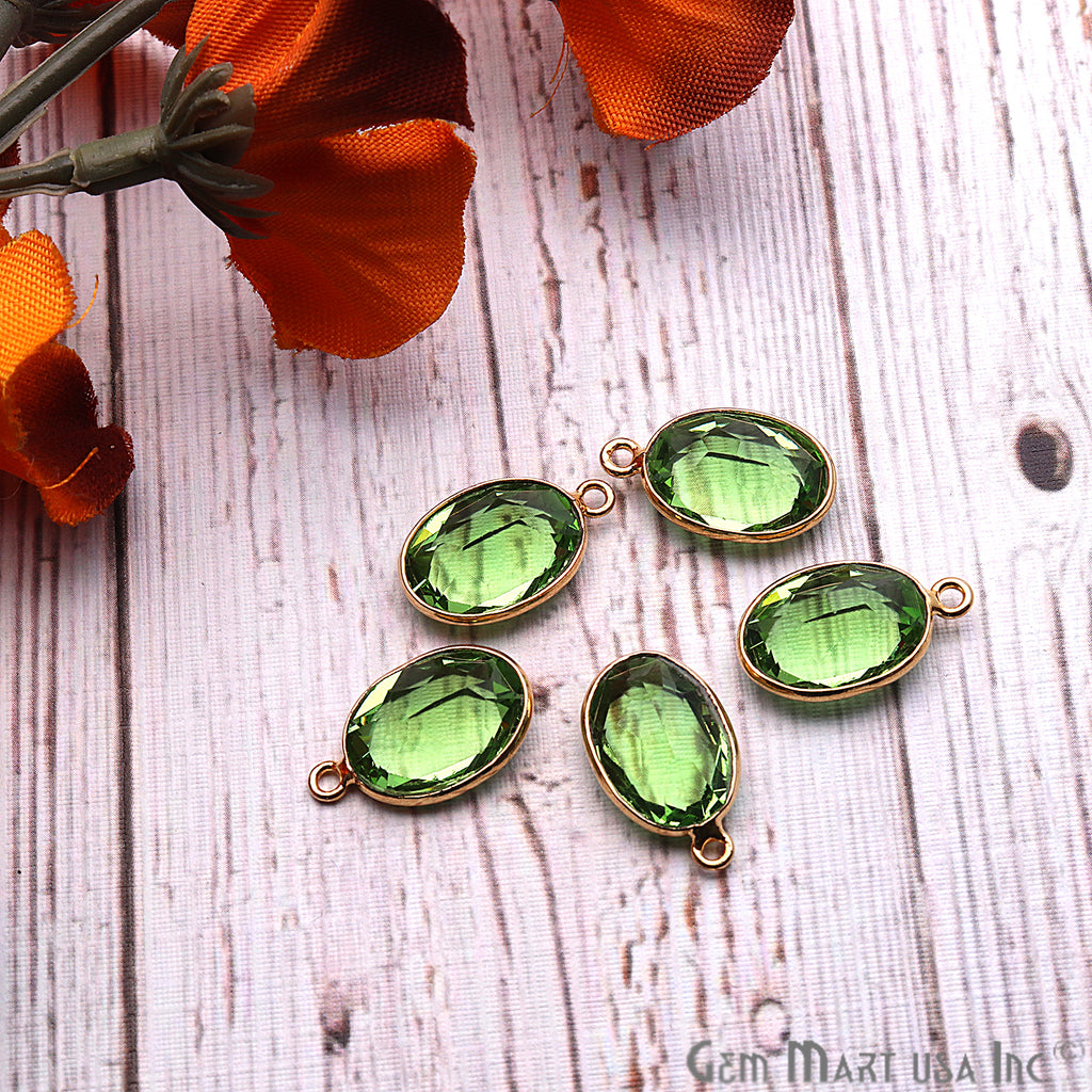 Peridot Gemstone 10x14mm Oval Shape Gold Plated Bezel Connector