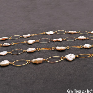 Pearl Beads With Gold Plated Oval Finding Rosary Chain - GemMartUSA