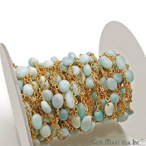 Chrysoprase 11x8mm Tumble Beads Gold Plated Rosary Chain