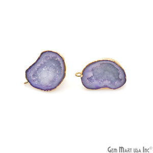 DIY Agate Slice Geode Druzy 29x19mm Gold Electroplated Loop Connector Studs Earrings - GemMartUSA