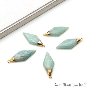 Gemstone Rhombus Shape 37x15mm Gold Plated Single Bail Connector (Pick Stone) - GemMartUSA