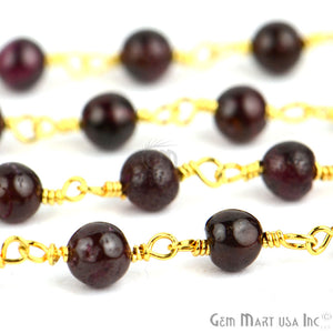 Garnet 4mm Gold Plated Wire Wrapped Beads Rosary Chain - GemMartUSA