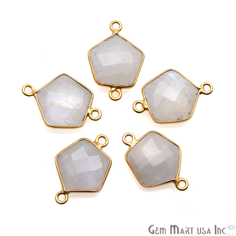 Rainbow Moonstone Pentagon Shape Gold Plated Double Bail 19x13mm Gemstone Connector