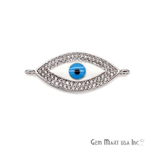 Cubic Zircon Pendant, Evil Eye Necklace, Bracelets Charm, Lavender Zircon Connector,(MCEE-5)
