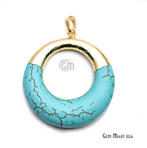 Turquoise Round 34mm Gold Plated Gemstone Circle Pendant