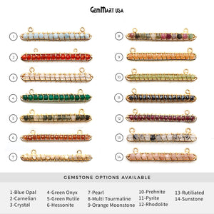 Gold Wire Wrapped Bar Beaded Gemstone Connector (Pick Your Bail)