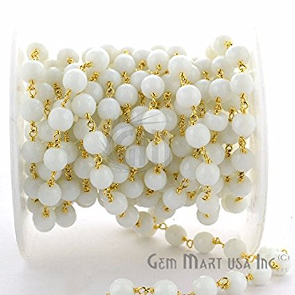 White Agate 7-8mm Beads Chain, Gold Plated wire wrapped Rosary Chain, Jewelry Making Supplies (GPWA-30035)