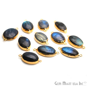 Labradorite Cabochon 31x18mm Oval Shape Gold Electrolated Gemstone Connector