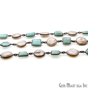 Amazonite And Pear Oxidized Bezel Rosary Connector Chain - GemMartUSA