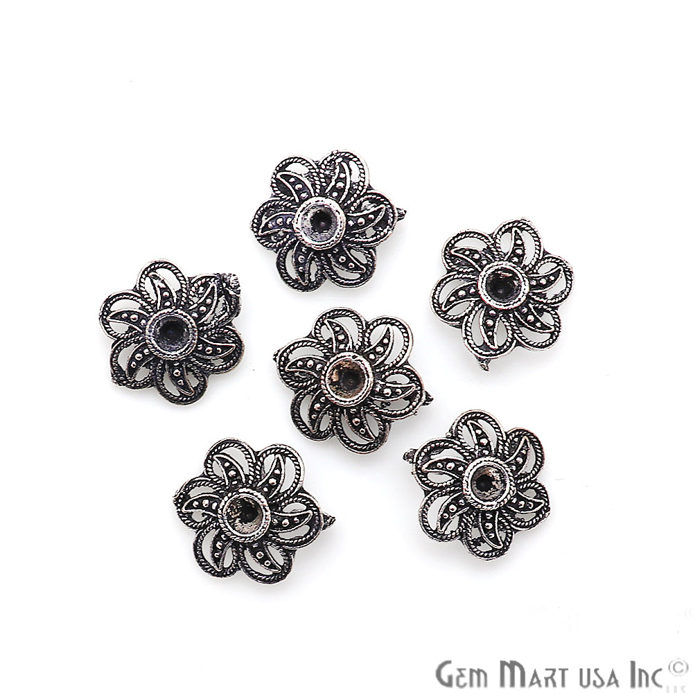 Flower Shape Oxidized 16x13mm Charm For Bracelets & Pendants