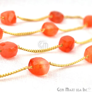 Carnelian 7-8mm Box Beads Chain, Gold Plated Wire Wrapped Rosary Chain