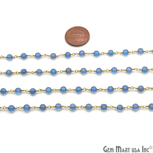 Sky Blue Chalcedony Faceted 3-4mm Gold Wire Wrapped Rosary Chain - GemMartUSA
