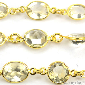 Lemon Topaz 10-15mm Mix Faceted Gold Bezel Continuous Connector Chain - GemMartUSA