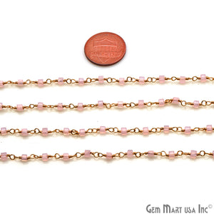 Rose Chalcedony Cube Faceted 2mm Gold Wire Wrapped Rosary Chain - GemMartUSA