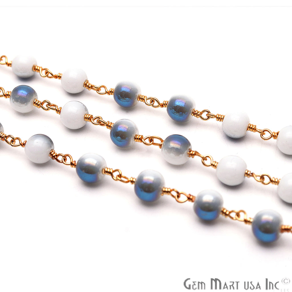 White Coated Jade Bead 6mm Round Gold Plated Beads Chain
