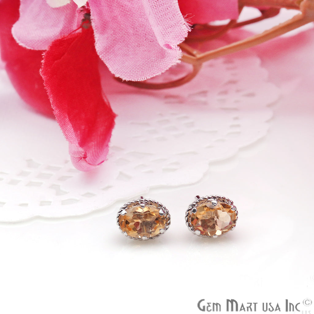 Citrine 7x5mm Sterling Silver Oval Shape Prong Setting Stud Earring
