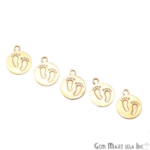 Foot Print Gold Plated Round Charm Connector