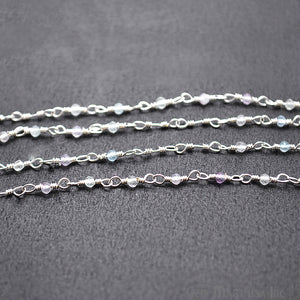 Fluorite Silver Plated Wire Wrapped Gemstone Beads Rosary Chain