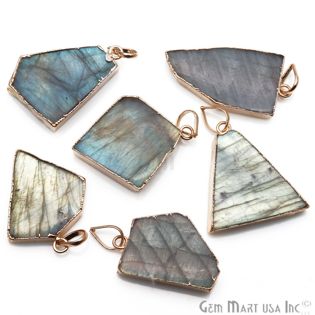 DIY Flashy Labradorite Slice Gemstone 36x32mm Gold Edge Necklaces Pendant