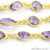 Amethyhst 10mm Mix Faceted Shapes Gold Plated Bezel Continuous Connector Chain