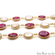 Ruby Coin And Pearl Round Beads 10-15mm Gold Plated Continuous Connector Chain - GemMartUSA