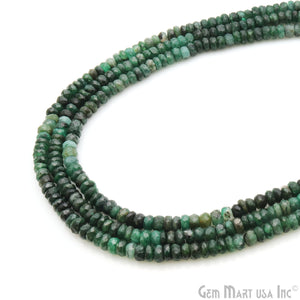 Emerald Round 5-6MM Faceted Tiny Rondelle Beads 1 Strand - GemMartUSA
